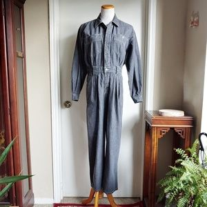 Vintage 90's Denim Jumpsuit Coverall Petite